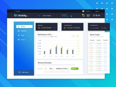 Dashboard design for Crypto trading company