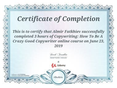 Copywriting course: Certificate of completion