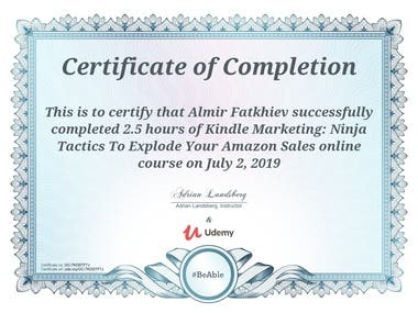 Marketing course: Certificate of completion