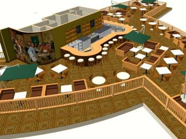 A unique rooftop Bar-Terrace layout.