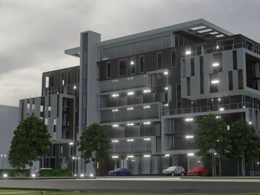3d modern building +rendering