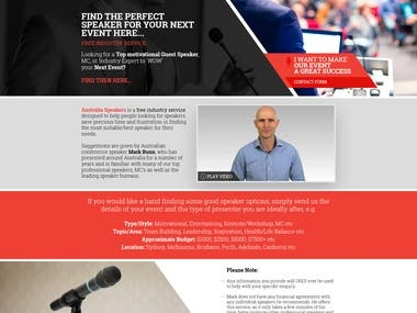 Australia Speakers Web Design