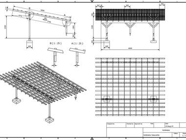 Carport 2D CAD and 3D