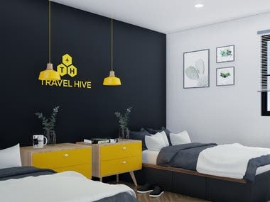 Interior design and hotel room renderings
