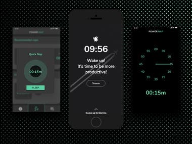 Power Nap Application UI Design