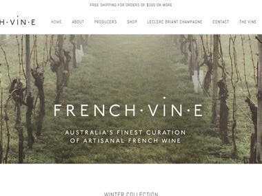 French Vine - Shopify website