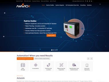 Website Designed for - AMWICK - iOT Company