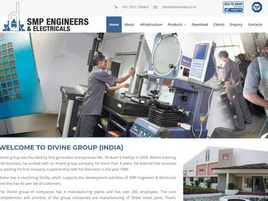 Website Design for Divine India - A Manufacturing Company