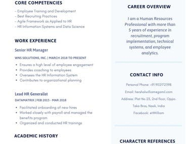 Resume and C.V. Section