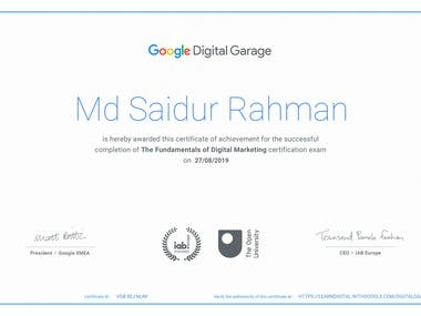 Google Digital Marketing Garage Certificate