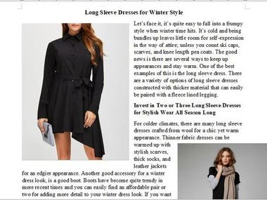 Content for E-Commerce fashion website