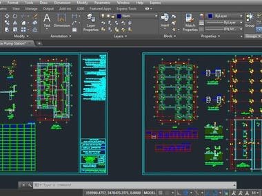 Sanitary Structural Design Drawings (AutoCAD)