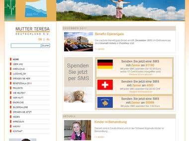 """Website for """"Mutter Teresa Deutschland e.V."""""""