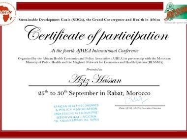 Certificate AfHEA International Conference