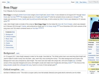 BOM DIGGY ARTICLE FOR WIKIPEDIA