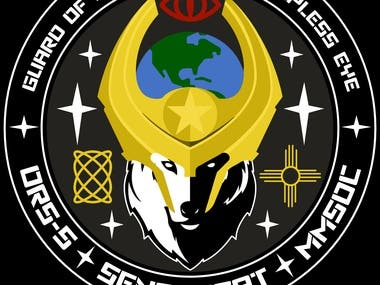 Military patch logo for an Inter-Satelital tracking system