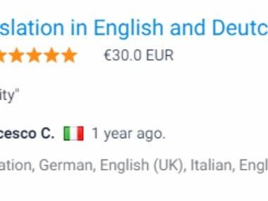 English to Deutsche and Italian translation