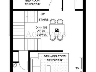 FLOOR PLAN - 1BHK (2D PLAN)