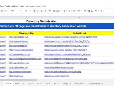 Directory Submission (Back link )