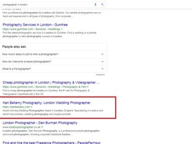 keywords ranking on Google search on top of the Google #1 pa