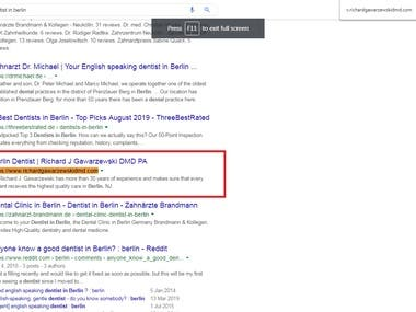 Website Ranking on Google #1 page