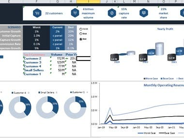 Financial model with dashboard and scenario analysis