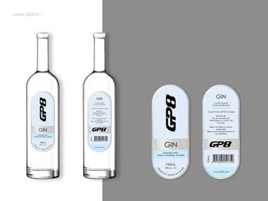 Label designs for Vodka and Gin Bottle with silver foil