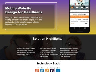 "Mobile Website Design for ""Healthians"""