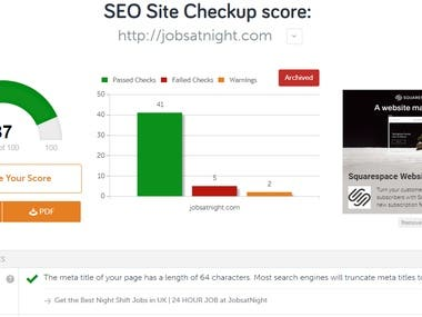 SEO Score Improvement for JobsatNight.com