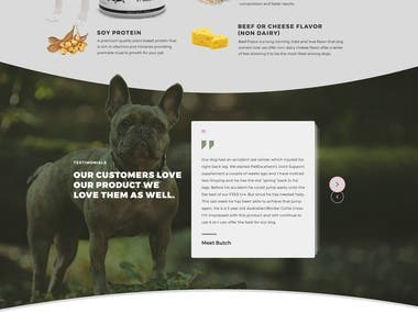 Landing page for muscle building product for dog food
