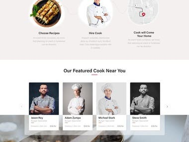 Home page design for finding cook near you.