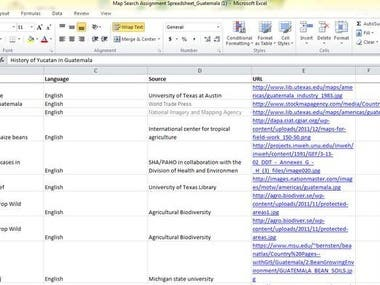 Search 200 Maps of Guatemala and Logged into a Excel Sheet.