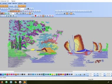 Landscapes Wilcom Embroidery designs.