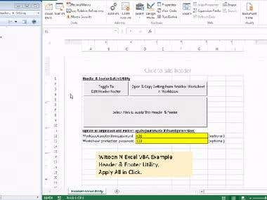 Excel VBA utility to copy header/footer setting to All.