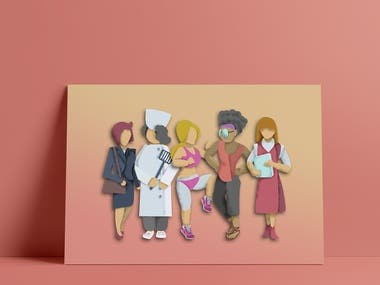 Woman Jobs Character Illustration