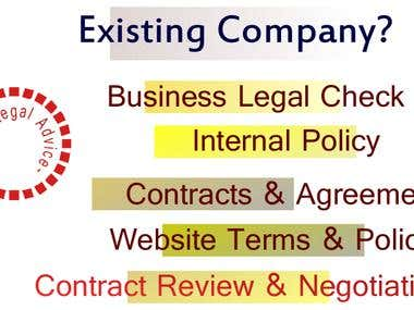 Existing Company looking for Legal Service?