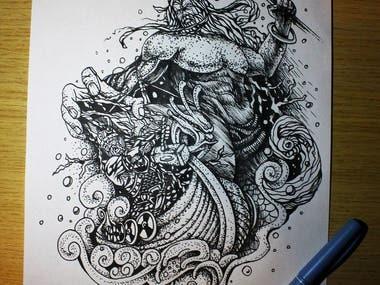 Viking and God Thor
