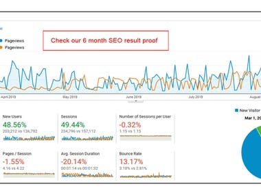 6 month SEO result Proof Google Analytic report