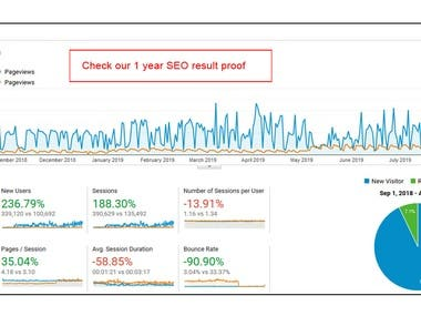 Analytic report of 1 Year SEO result proof