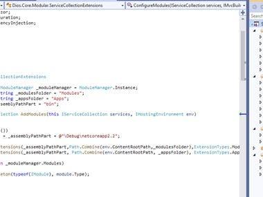 Modular web application with Asp.Net Core 2.2
