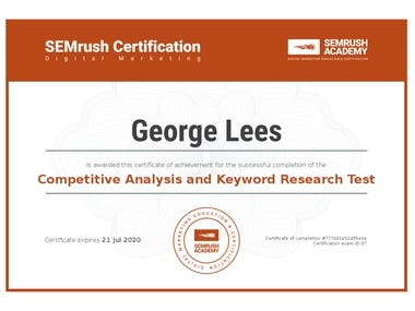 SEO Fundamentals, SEMRush Certification