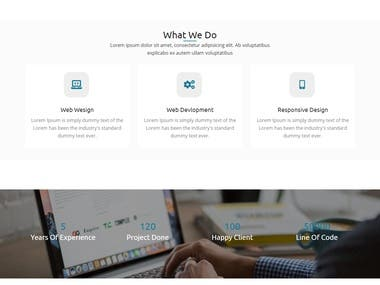 Landing page for webdesign agency