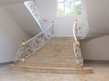 Modeling and visualization of forged stairs