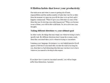 8 Hidden habits that lower your productivity