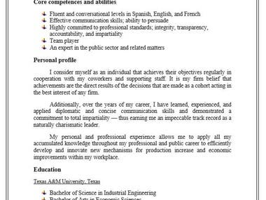 Resume for a high level bank job