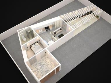 3D floor Plan with 2D Details