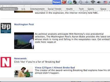 Facebook social news application