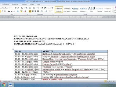 Example of Event Tentative Programme