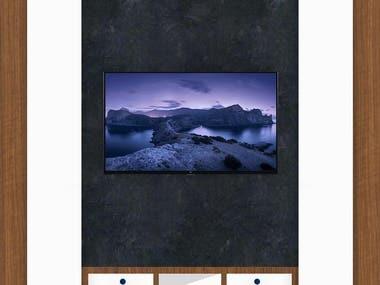 Tv unit design in 2BHK hall