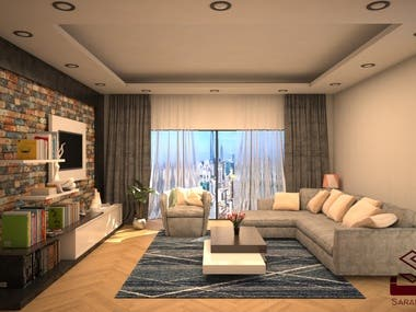 Living Room 3D Modelling and Rendering